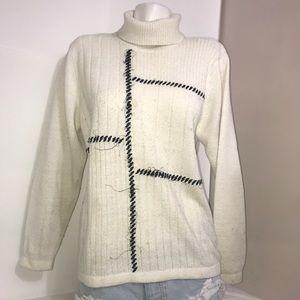 ALIA Cream Black Embroidered TurtleneckKnit Sweatr